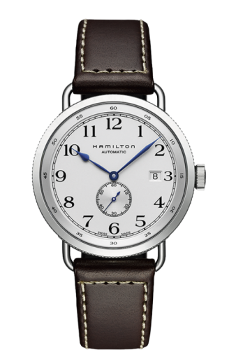 Hamilton: Stainless Steel Automatic Small Second Khaki Navy Pioneer  40mm Watch With Brown Strap