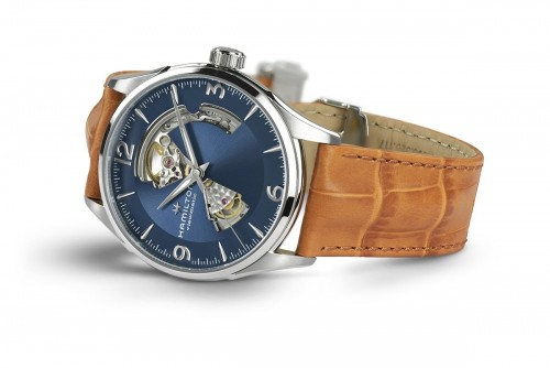 Hamilton: Stainless Steel Automatic Jazzmaster 42mm Watch With Tan Strap Dial Color: Blue