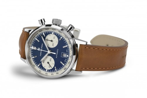 Hamilton: Stainless Steel Automatic Chronograph Intramatic 40mm Watch With Tan Starp Dial Color: Blue