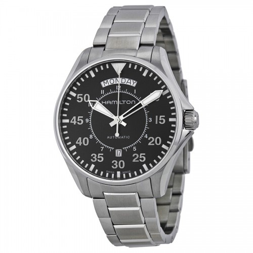Hamilton: Stainless Steel Automatic  Day Date Khaki Aviation 42mm  Watch Dial Color: Black