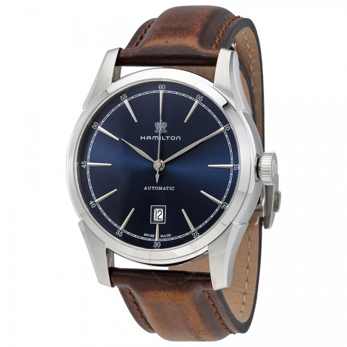 Hamilton: Stainless Steel Automatic Spirit Of Liberty 42mm Watch With  Brown Strap Dial Color: Blue
