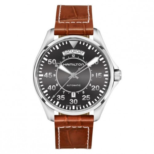 Hamilton: Stainless Steel Automatic Khaki Aviation Day Date Automatic 42mm Watch With  Brown Strap