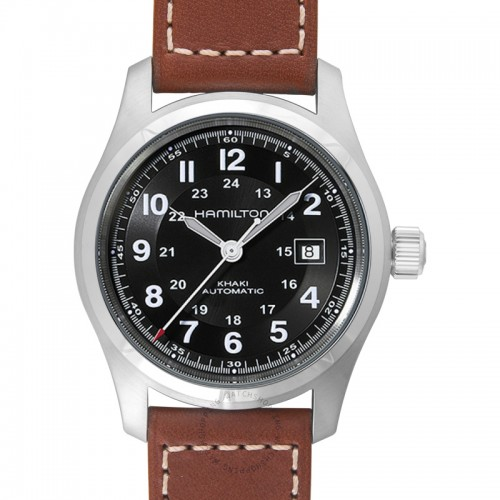 Hamilton:Stainless Steel Automatic Khaki Field 38 mm Watch With  Brown Strap Dial Color: Black