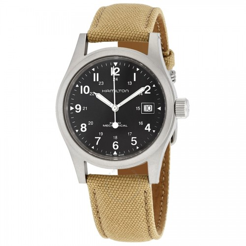 Hamilton: Stainless Steel  Mechanical Khaki Field 38mm Watch With  Beige Canvas Strap Dial Color: Black