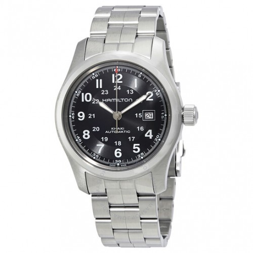 Hamilton: Stainless Steel Automatic Khaki Field 42mm Watch Dial Color: Black