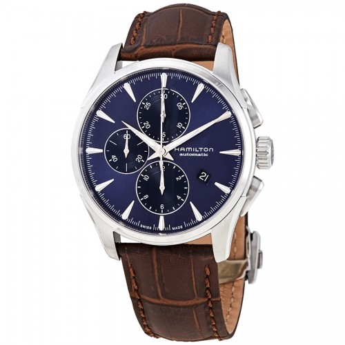 Hamilton:Stainless Steel Automatic Chronograph Jazzmaster 42mm Watch With Brown Strap Dial Color: Blue