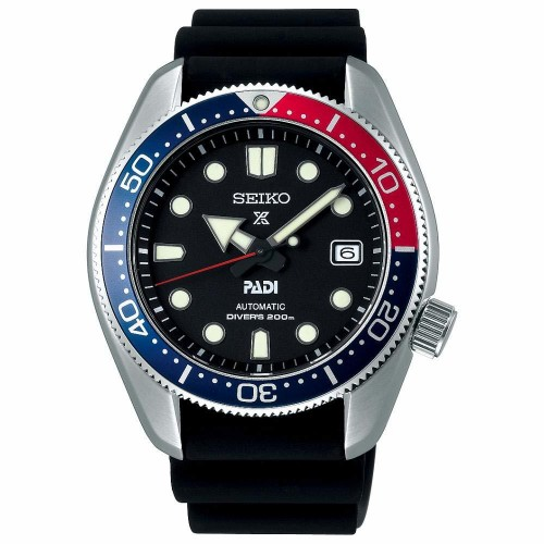 Seiko Luxe: Stainless Steel Prospex Diver's 200M PADI Special Edition Automatic Watch Name Of Bracelet: Silicone Clasp: Buckle Finish: Satin And Polish Dial Color: Black Bezel: Red/Blue Mm: 44