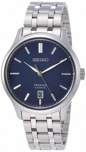 Seiko Luxe: Stainless Steel Presage Automatic Dress Watch Clasp: Deployment Finish: Satin and Polish Dial Color: Blue  MM: 41.7