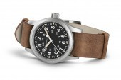 Hamilton: Stainless Steel Mechanical Movement Khaki Field 38mm Watch With Brown Strap Dial Color: Black