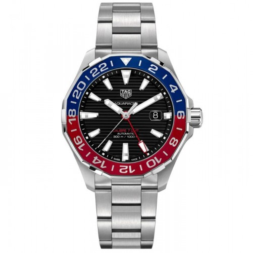 Tag Heurer: Stainless Steel 43mm Aquaracer GMT  Automatic Watch Name Of Bracelet: Stainless Steel Clasp: Deployment Buckle Finish: Satin Dial Color: Black Bezel: Blue/Red