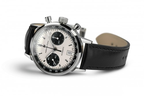 Hamilton: Stainless Steel Automatic Chronograph Intramatic 68, 40mm Watch With Black Strap Dial Color: Silver/ Blue Chrono