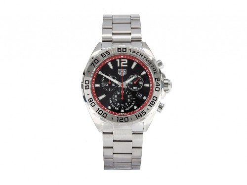 Tag Heuer: Stainless Steel 43mm Formula 1 Quartz Chronograph Watch Clasp: Deployment Buckle Finish: Satin Dial Color: Black & Red