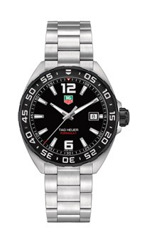 Tag Heuer: Stainless Steel 43mm Formula 1  Quartz Watch Name Of Bracelet: Stainless Steel Band Clasp: Deployment Finish: Satin Dial Color: Black