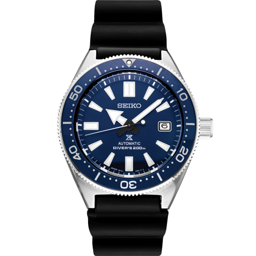 Seiko Luxe: Prospex Stainless Steel Diver's 200m Automatic With Manual Winding Capacity Watch Case Material: Stainless Steel (super hard coating)  Name Of Bracelet: Black Silicone Clasp: Buckle Dial Color: Blue Lumibrite On Hands And Indexs Curved Sa