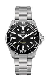Tag Heuer: Stainless Steel Aquaracer Quartz Watch Clasp: Steel Folding Clasp With Safety Push-Buttons And Diving Extension Finish: Satin And Polish Dial Color: Black Dial Bezel: Unidirectional Turning Black Aluminum Bezel Mm: 41mm