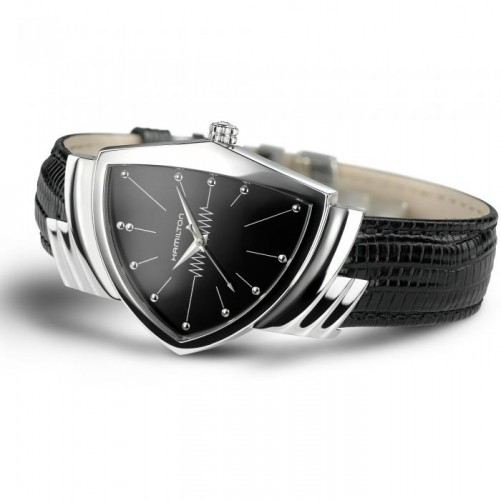 Hamilton: Stainless Steel Quartz Ventura 17mm Watch With Blace Strap Dial Color: Black