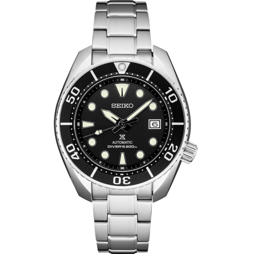 Seiko Luxe: Stainless Steel Prospex Diver's 200m Automatic Watch Clasp: Deployment Dial Color: Black Bezel: Black Mm: 45