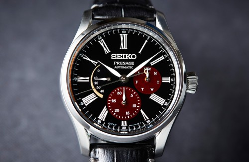 Seiko Luxe: Stainless Steel Presage Limited Urushi Lacquer Dial Edition Automatic/ Hand Winding Watch Name Of Bracelet: Leather Clasp: Deployment Buckle Finish: Satin And Polish Dial Color: Black With Red Sub Dials Bezel: Smooth Stainless Steel Mm: