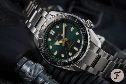 Seiko Luxe: Stainless Steel Prospex Diver's 200M Automatic Watch Clasp: Deployment Finish: Satin And Polish Dial Color: Green Bezel: Black Mm: 44mm
