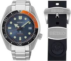 Seiko Luxe: Stainless Steel  Prospex Diver's 200m Automatic Watch Name Of Bracelet: Stainless Steel With Extra Black Silicone Strap Finish: Satin And Polish Dial Color: Blue Bezel: Red/Black Mm: 44