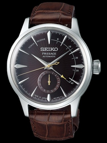 Seiko Luxe: Stainless Steel Presage Date Wheel Automatic Watch Name Of Bracelet: Leather Clasp: Deployment Buckle Finish: Polished Dial Color: Brown Pressed Pattern With Gloss Finish Bezel: Smooth Mm: 40.5