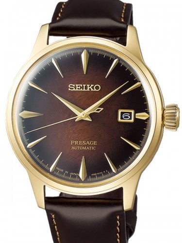 Seiko Luxe: Stainless Steel And Yellow Presage Limited Edition Automatic Watch Name Of Bracelet:  With Additional Leather Strap Clasp: Deployment Buckle Finish: Polished Dial Color: Brown Bezel: Smooth Mm: 40.5