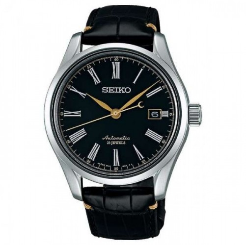 Seiko Luxe: Stainless Steel Presage Automatic Watch Name Of Bracelet: Black Alligator Strap Clasp: Deployment Buckle Finish: Satin And Polish Dial Color: Urushi Lacquer Dial With Gold Accent Bezel: Smooth Mm: 40.5 Curved Sapphire Crystal. Anti-Refl