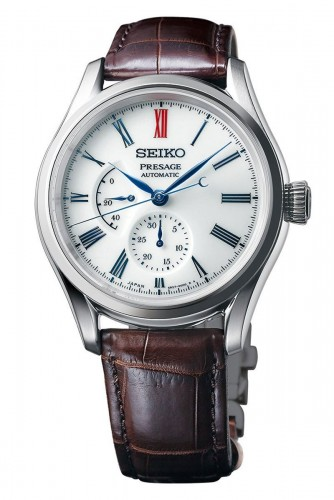 Seiko Luxe: Presage Stainless Steel Automatic Chronograph Watch Caliber Number 6R27 Dual-Curved Sapphire Crystal Anti-Reflective Coating On Inner Surface Name Of Bracelet: Crocodile Leather Clasp: Integrated Finish: Satin And Polish Dial Color: Arita