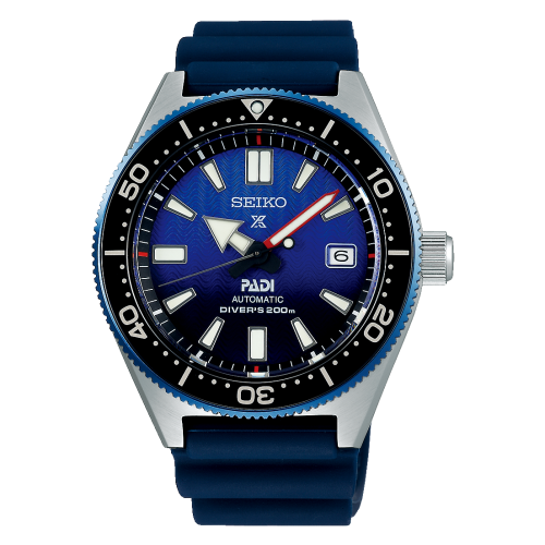 Seiko Luxe:Prospex Stainless Steel Special Edition Padi Diver's 200m Watch Case Material: Stainless Steel With Super-Hard Coating On Case  Name Of Bracelet: Blue Silicone Strap Clasp: Buckle Dial Color: Black And Blue Wave Pattern Curved Sapphire Cry