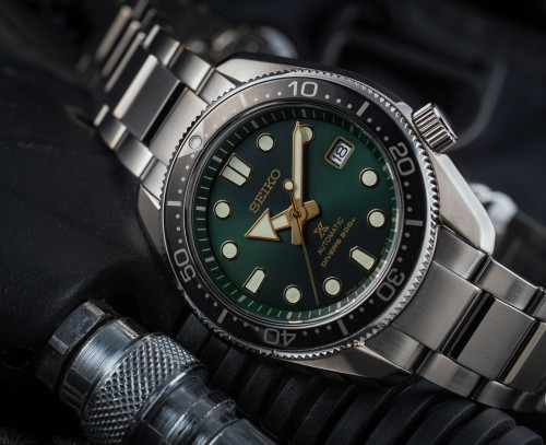 Seiko Luxe: Prospex Diver's 200M Stainless Steel Automatic Watch Clasp: Three-Fold Clasp With Secure Lock Push Button Release With Extender Sapphire Crystal With Anti-Reflective Coating On Inner Surface Dial Color: Green Lumibrite On Hands And Indexs B