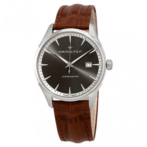 Hamilton: Jazzmaster Stainless Steel  Quartz Watch Name Of Bracelet: Brown Strap Clasp: Deployment Finish: Polished Dial Color: Grey Serial #: 3F8L56LZN Bezel: Smooth Mm: 40