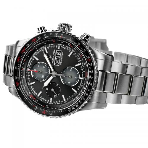 Hamilton:  Khaki Aviation Converter Chronograph Stainless Steel Automatic 44mm Watch Clasp: Deployment Dial Color: Black Serial #: E7A9YF29T Bezel: Bi-Directional, Rotating Slide-Rule Bezel