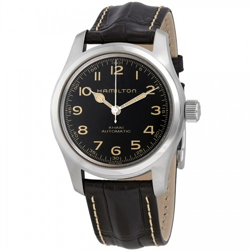 Hamilton: Khaki Field (Murph)  Stainless Steel 42mm Automatic Watch Name of Bracelet: Black Calf leather Clasp: Buckle Dial Color: Black Serial #: P2NAJSHD2 Bezel: Smooth 80-hour power reserve