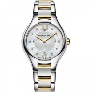 Stainless Steel And Yellow Watch With 10=0.03Tw Round Diamonds