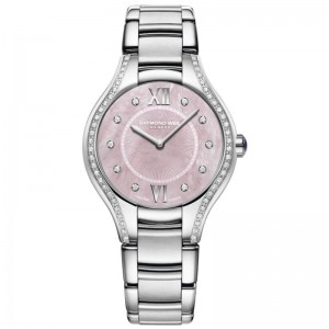 Stainless Steel Quartz Watch With 62=0.35Tw Round Diamonds