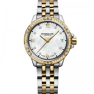 Stainless Steel And Yellow Quartz Watch With 44=0.19Tw Round E/F Si1-2 Diamonds