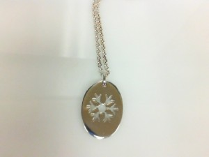 Sterling Silver Snowflake Pendant Cable Link Chain 24