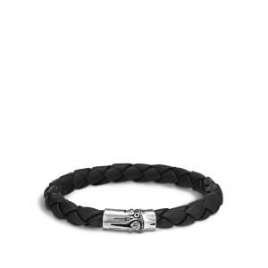 John Hardy: Sterling Silver Engraved Bamboo Black Woven Leather  Bracelet Length: Med 8