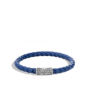 John Hardy: Sterling Silver Classic Chain 5.5mm Station Bracelet In Silver And Leather Bracelet Diameter: Med