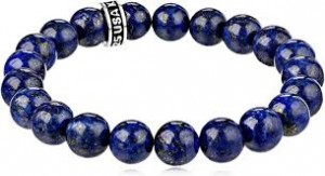King Baby: 10mm Lapis Bead Bracelet  With Sterling Silver Logo Ring  Length: 8.75