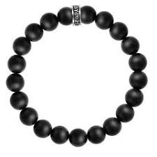 King Baby 10mm Black Onyx Bead Bracelet Sterling Silver Logo Bracelet  Length: 8.75