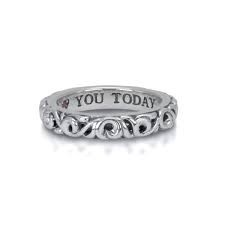 Charles Krypell: Sterling Ivy I Love You Today Silver  With One 0.01Ct Round Pink Sapphire Ring Size 4