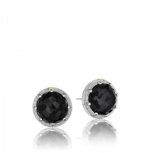 Tacori: Sterling Silver & 18 Karat Yellow Gold  Engraved Stud Earrings With 2=13.00Mm Round Black Onyxs Name: City Lights - Black Onyx