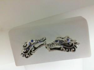 John Hardy:  Legend's Naga Silver Stud Earrings With Blue Sapphire Eyes