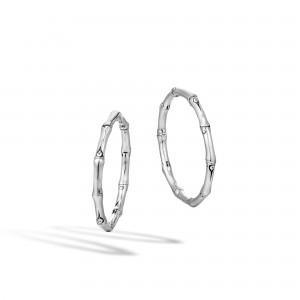 John Hardy: Sterling Silver Bamboo Medium Hoop Earrings 30.5MM