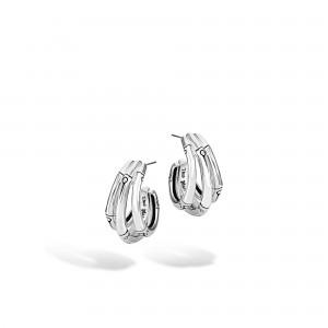 John Hardy Sterling Silver Earrings Name: BAMBOO SMALL J HOOP