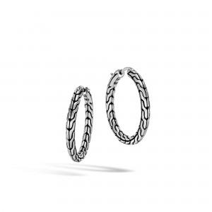 JOHN HARDY: Sterling Silver Earrings Name: Classic Chain Med Hoop dia 20mm