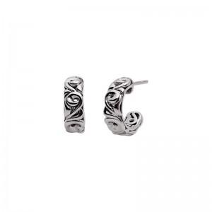 Charles Krypell: Sterling Silver 15mm Ivy Small Hoop Earrings