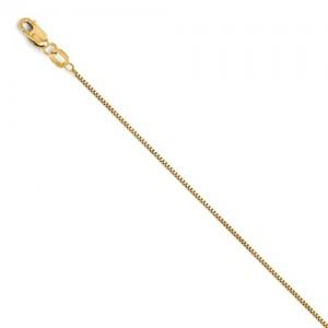 14 Karat Yellow Gold  Box  Anklet 9