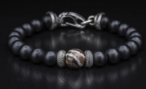 William Henry: Sterling Silver Bracelet With One 10.00Mm Bead Fossil Woolly Mammoth Tooth And 8.00Mm Bead Black Onyxs Name: Black Onyx/Fossil Wooly Mammoth Tooth Length: 8.5